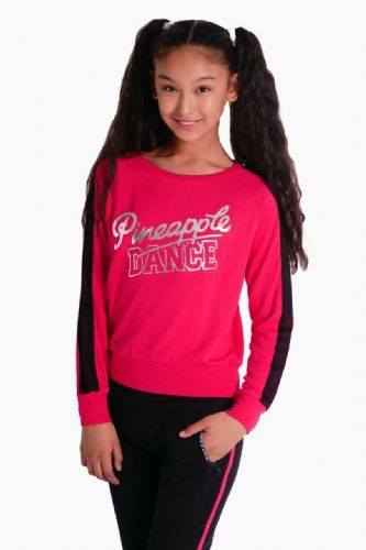 PINEAPPLE DANCEWEAR GIRLS Long Sleeved Dance Mesh Stripe Jumper Berry Red/Black